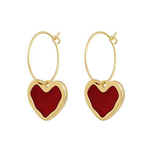 Pendientes Mujer Pendientes Colgantes De Corazón Colgante De Círculo De Temperamento De Moda Accesorios Elegantes Pendiente Popular