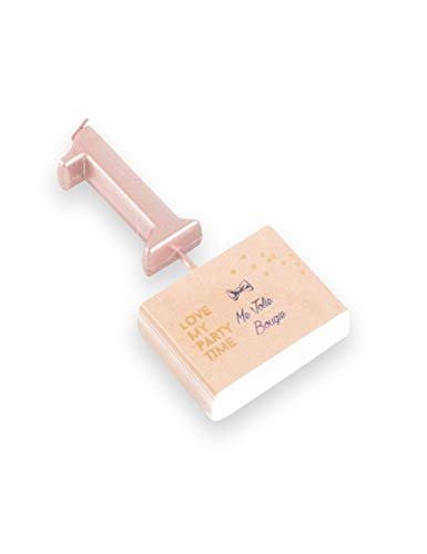 decodefete 1 Bougie chiffre 1 rose gold