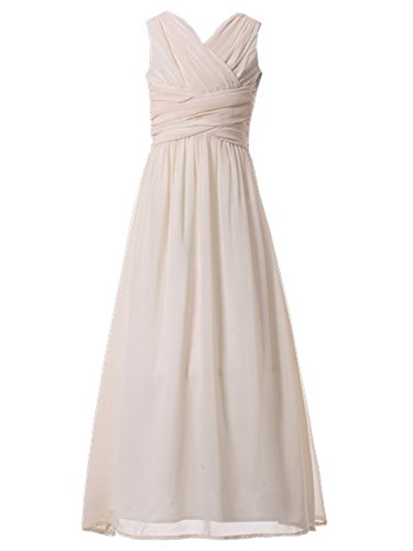 Happy Rose Flower Girl's Dress Party Dresses Juniors Long Bridesmaid Dress Ivory Cream 12