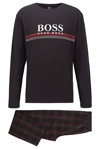 BOSS Herren Urban Long Set Pyjama-Set aus Reiner Baumwolle mit Logo und Karierter Hose