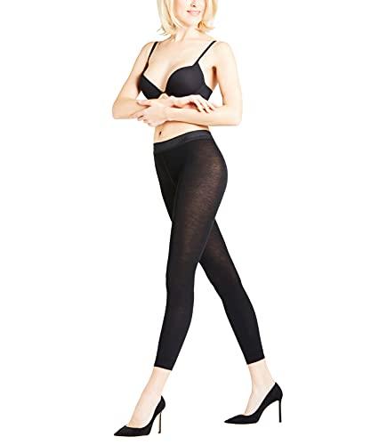 FALKE Damen Leggings Softmerino - Merinowoll-/Baumwollmischung, 1 Paar, Schwarz (Black 3000), Größe: M/L