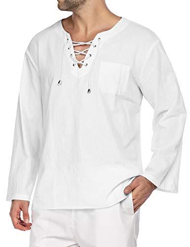 COOFANDY Mens Fashion T Shirt Cotton Tee Hippie Shirts Long Sleeve Yoga Top,White,Medium