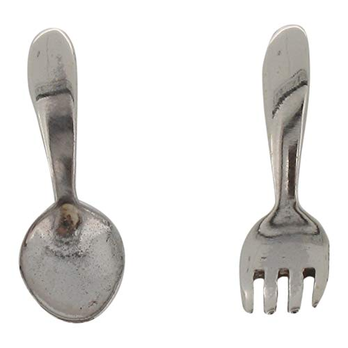Touch Jewellery 925 Sterling Silver Fork and Spoon Design Stud Earrings