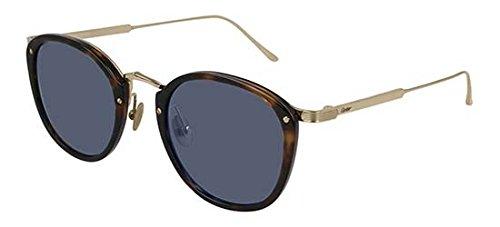 Sonnenbrillen Cartier CT0014S HAVANA GOLD/BLUE Unisex Brillen für Erwachsene