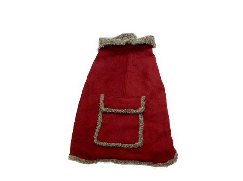 CPC Velourslederimitat und Trinkgeld Berber Mantel/Jacke für Hunde, XS, rot