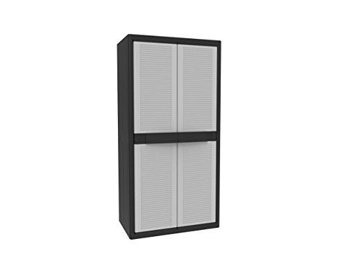 Terry Jumbo 3900Qlack Hochschrank aus Kunststoff, XL, Besenschrank, 1102205, Grau/Schwarz, 89,7x53,7x180 cm