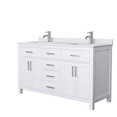 Beckett 60 Inch Double Bathroom Vanity in White, White Cultured Marble Countertop, Undermount Square Sinks, No Mirror