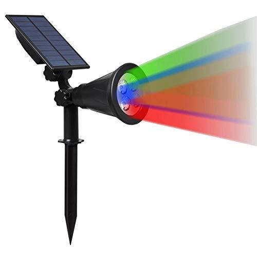 NZHK Luces al Aire Libre Solar, 4 LED Focos Paisaje Solar IP65 Resistente al Agua con energía Solar Luces de Pared Ajustable de Seguridad iluminación de la decoración,RGB