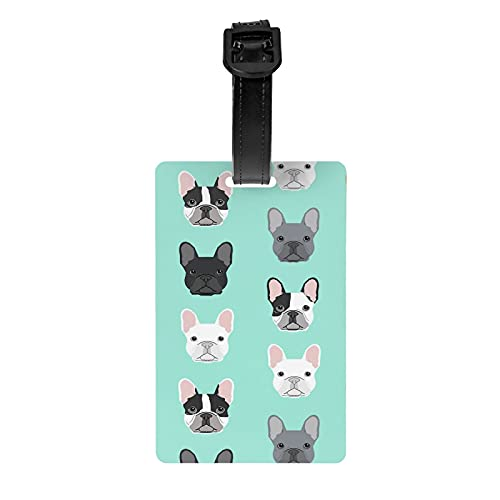 French Bulldog Cute Dog Green Personalized Luggage Tag for Suitcases Women Girls Kids Travel Bag Backpack Baggage ID Identifiers Label