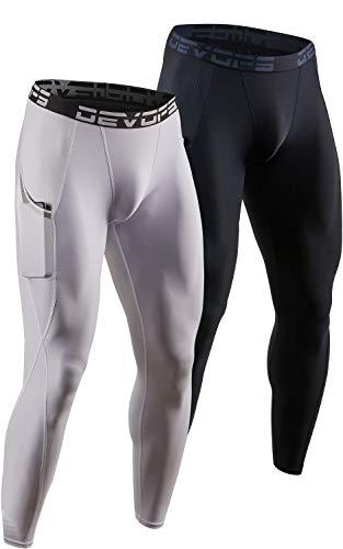 DEVOPS 2 Pack Men's Compression Pants Athletic Leggings with Pocket (Large, Black/White)