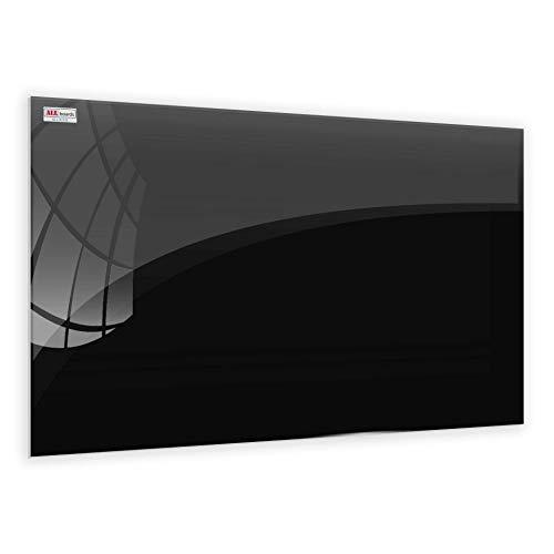 ALLboards Lavagna in Vetro Nera Magnetica 90x60cm, senza Cornice, a Muro, Per Calamite Neodimio, Vetro Temperato