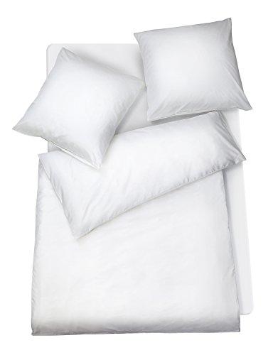 Carpe Sonno Mako Satin Bettwäsche 200x200 cm einfarbig weiß - Luxus Hotelbettwäsche für Paare - weiße Uni Bettgarnitur aus mehrfach veredelter & feinster Baumwolle - hochwertiges Bettzeug Set 3 TLG