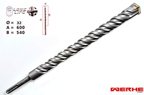 WERHE SDS Max Betonbohrer 32 x 600 mm Hammerbohrer Steinbohrer Beton Bohrer