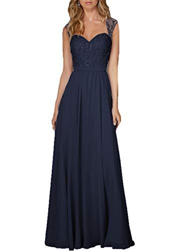 Damen Abendkleid Lang Hochzeitskleid Chiffon A-Linie Ballkleid Brautjungfernkleider Ärmellos Festkleid Navy 48