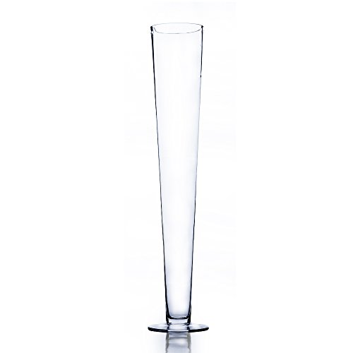 WGV Trumpet Glass Vase, Open 4″, Height 23.5″, (Multiple Sizes Choices) Clear Tall Pilsner Floral Planter Container Centerpiece, Wedding Event Home Decor, 1 Piece (VTV0424)