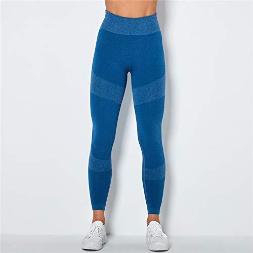 GUOYANGPAI Pantalones Deportivos de Cintura Alta sin Costuras, Pantalones Deportivos para Correr, Polainas sin Costuras de energía,Lago Azul,M