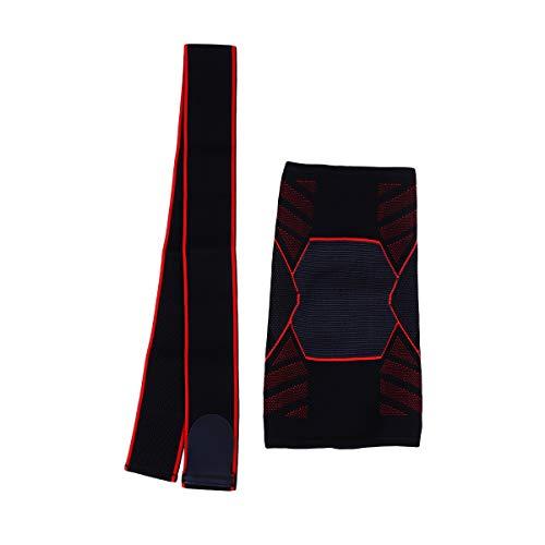 Hemoton Sports Knieschoner Strick Kompression Kniebandage Atmungsaktiv Schützende Kniebandage Knieschoner Größe M Schwarz und Rot