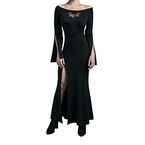QingJiu Damen Schulterfrei Schlank Aushöhlen Kleid Elegant Split Langarm Abendkleid