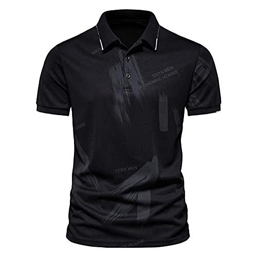 Camisa Henley Hombre Básica Informal Urbana Moderna Clásica Polo Hombre Elástica De Verano Hombre Manga Corta Golf Béisbol Deporte para Hombre Camisa Deportiva B-Black 4XL