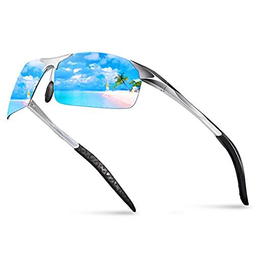BOYOU Gafas de sol para hombre Gafas polarizadas hombre Gafas de sol polarizadas delgadas deportivas de verano mentales(Azul)