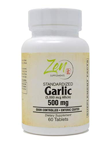 Pure Odorless Garlic Extract 500mg - Enteric Coated Garlic Capsules Best Supplement for Immune Support, Blood Pressure, Helps Maintain Healthy Cholesterol - Rich in Allicin - 60 Tabs