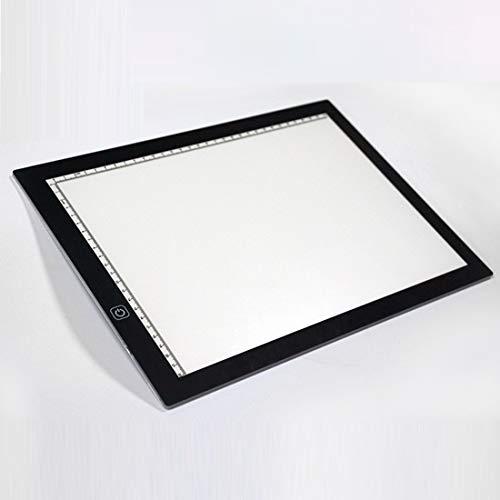 XUY Digitale tekenplank, led, traploos instelbaar, A4, acryl, kopiëren, boards, anime sketchpad, tekening, sketchpad met schaalindeling voor thuiskantoor