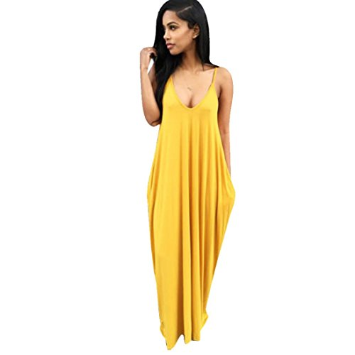 Ninasill Beautiful Irregular Gallus Women Summer Boho Long Dress, Exclusive Fashion Maxi Evening Party Dress Beach Dresses (S, Yellow)