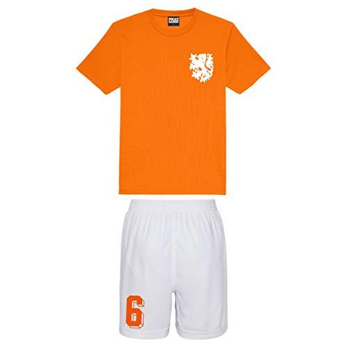 Print Me A Shirt Niños Personalizables Equipo de fútbol Holanda Nederlands Estilo Camiseta de fútbol y Pantalones Cortos en casa (Naranja eléctrico con Pantalones Cortos Blancos)