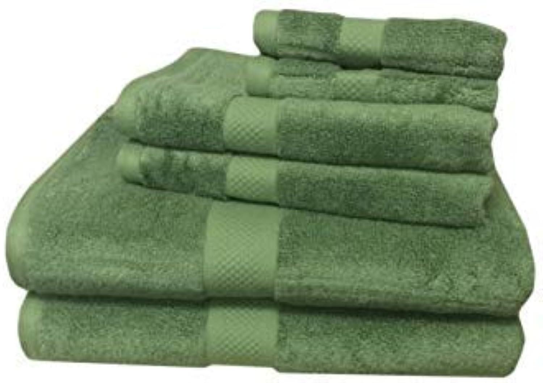 Bamboo Towel Set 6 Piece Super Soft Bath Towels Hand Towels Wash Cloth Set Green 6PC-Bamboo-Blend-Towel-Sets