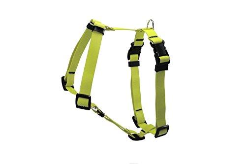 LENNIE BioThane Geschirr, verstellbar, Größe M, Farbe Neon-Gelb, Hundegeschirr, Führgeschirr