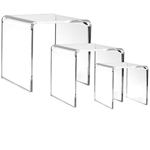 Banberry Designs - Elevadores de acrílico transparente, juego de 3 tamaños variados – exhibición de joyas – soportes de mesa – Pedestales transparentes