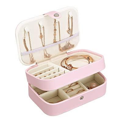 ZHYHAM Caja de joyería de almacenamiento de doble capa de almacenamiento cosmético portátil collar caja
