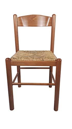 Sedia Pisa, in Legno Massello, Seduta in Paglia, Varie Colorazioni Disponibili, Ordine Minimo 2 Pezzi (Miele)