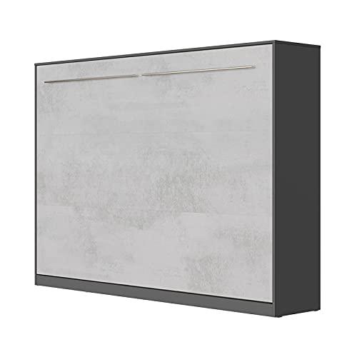 SMARTBett Standard 140x200cm Horizontal Antracita/Concreto Cómodo   Cama Abatible, Cama De Pared, Cama Plegable, Cama Oculta