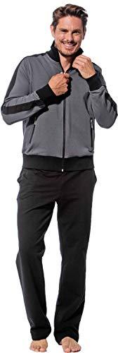 Morgenstern Herren Hausanzug, Freizeitanzug, Jogginganzug Erik graue Jacke und Schwarze Hose Größe L