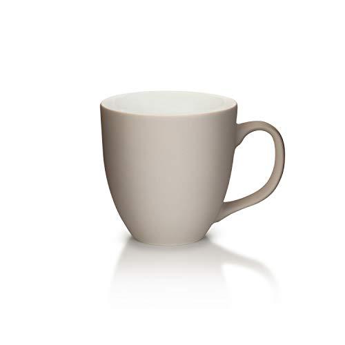Mahlwerck XXL Jumbotasse, Große Porzellan-Kaffeetasse mit matter Soft-Touch Oberfläche, in Soft-Warmgrey, grau, 450ml