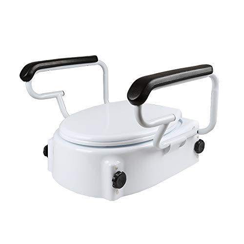 yjll verhoogde toiletbril vergrendelt op de meeste toiletten, draagbare stoel met stevige beugels, medische hulp voor ouderen, gehandicapten