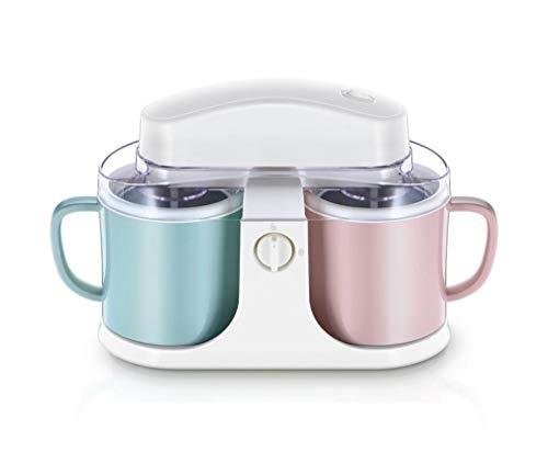 Eismaschine 2 Getrennte Tassen Speiseeismaschine Für Gefrorener Joghurt Und Sorbet Mit 1L Kapazität 30 Min Rührdauer Einfache Reinigung Niedriges Betriebsgeräusch (2 Farbbecher)