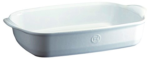 Emile Henry France Ovenware Ultime Rectangular Baking Dish, 16.5 x 10.6, Flour White