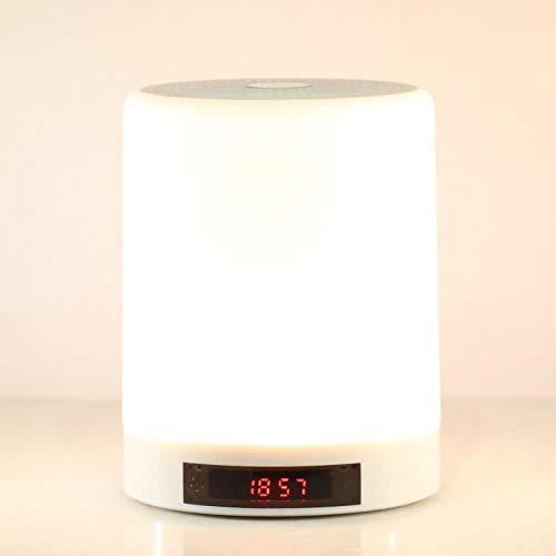 Luz de noche Modo privado Audio Lámpara de escritorio Altavoz Bluetooth Luz de noche Empresa Regalo de empresa, Temporizador de apagado y alarma de hora Blanco