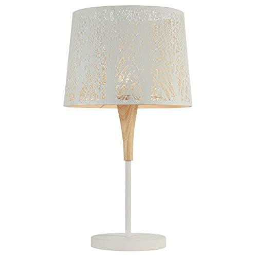 Vintage Tischlampe, Tisch-leuchte & Nachttischlampe E27 Weiß Natur-hell Metall Holz
