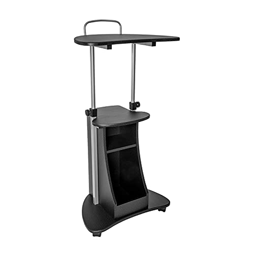Techni Mobili Sit-to-Stand Rolling Adjustable Height Laptop Cart with...