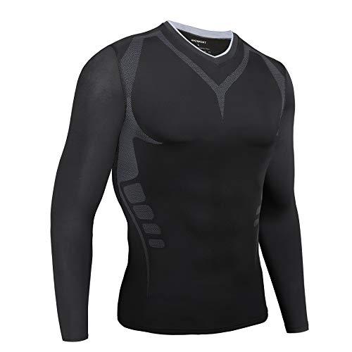 AMZSPORT Maglietta a Compressione da Uomo Maglia a Manica Lunga Camicia Sportiva Nero, M