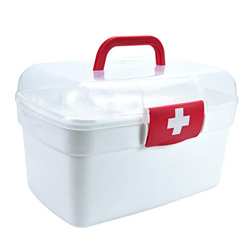 Timoo First Aid Box Empty Container Bin Family Emergency Supplies Storage Organizer with Detachable Tray Clear Lid
