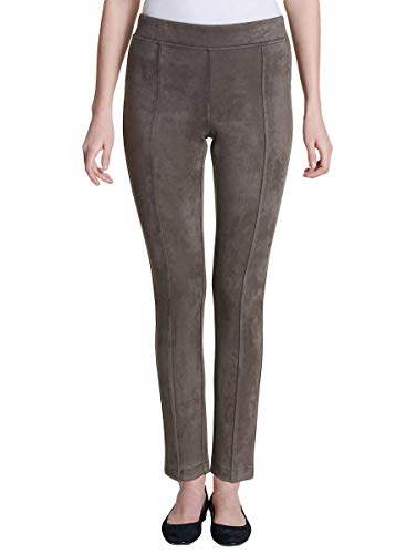 Andrew Marc Women's Super Soft Stretch Faux Suede Pull On Pants (Taupe, Large)