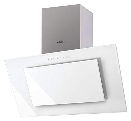 Edesa / ECV-9831 GWH/ EEK A / Kopf-freie Dunstabzugshaube / 90 cm / 850 m3 / h / 50 dB /weiß Glas Edelstahl / ECO LED