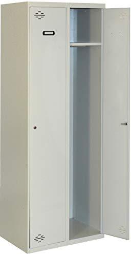 Taquilla profesional montada 2 cuerpos 1 puerta cada uno Gris/Gris Simonrack 1800x600x500 mms - Taquilla metálica - Taquilla para gimnasio - Taquilla de vestuario - Se entrega montado