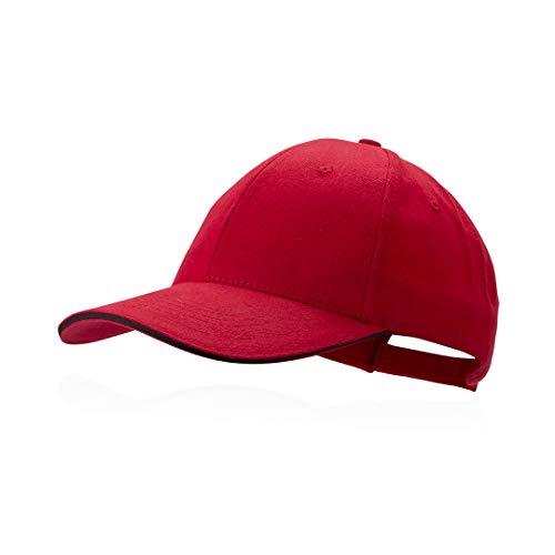 Makito Gorra roja béisbol padel golf gorra 6 paneles 100% algodón peinado cierre ajustable gorra unisex