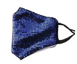Blue Sequin Glitter Cotton Masks Filter Pocket and Filter Included