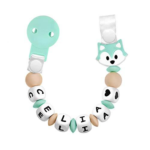 RUBY - Chupetero Personalizado para Bebé con Nombre Bola Silicona Antibacteriana con Pinza de Plástico, Chupetero Zorrito (Menta)